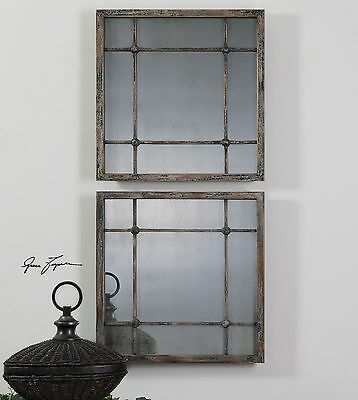 Smoked Antiqued Glass Mirror Squares Cottage   Tiled Grouping Column