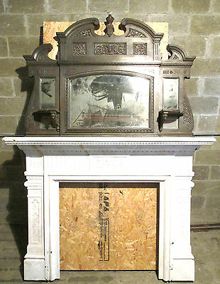 ~ Tall Two Piece Antique Cast Iron Fireplace Mantel 8 Ft Architectural Salvage ~