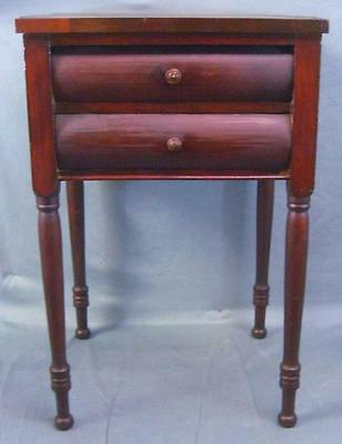 Antique Mahogany Sheraton Two Drawer Stand Unusual Shaped Top