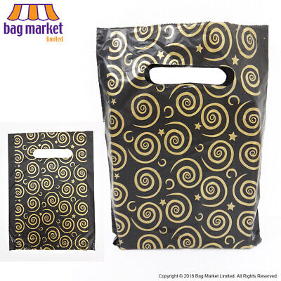 Ex Small Black & Gold Plastic Printed Carrier Bags!   Gift/Jewellery/Make-Up