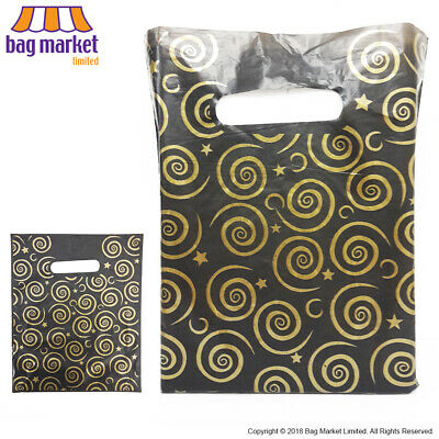 Small Black & Gold Plastic Printed Carrier Bags!   Gift/Jewellery/Accessories