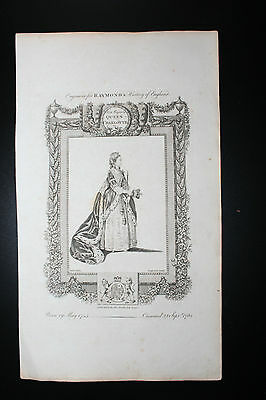 Raymond's History of England - Queen Charlotte - Copper Engraving - c1783