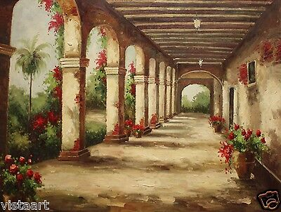 "Quality Oil Painting on Canvas 36""x 48"" Lovely Outside Hallway with Arch Pillars"