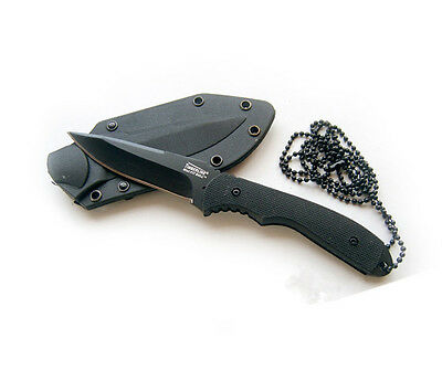Necklace small straight knife outdoor  hang in the neck knife Plastic sleeve A1