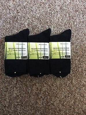 6 Pairs Black Organic Bamboo Loose Top No Seam Healthy Diabetic Socks Ladies 2-8