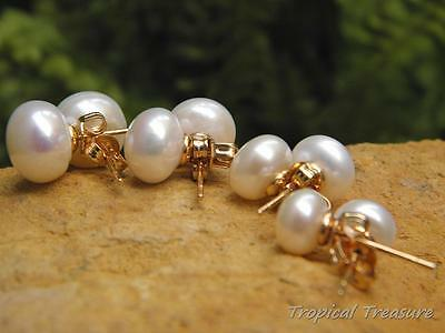WHITE Pearl Earring Studs - 18k Gold Plated 925 SOLID Silver