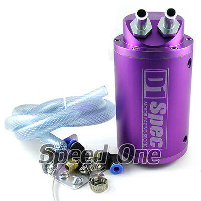 Car Universal Aluminum Round Oil Reservoir Catch Can Tank Kit Purple for Honda