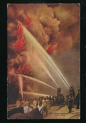 FIRE FIGHTING USA New York High pressure in action c1900/10s? PPC
