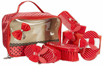 PFIFF Full Horse Pony Grooming Kit/Box Brush/Comb/Hoof Pick Cute Polka Dot Bows