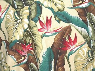 1/2 YARD 18x55 Tropical Hawaiian Barkcloth Upholstery FABRIC ~Bird of Paradise~