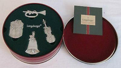 Longaberger 2003 Sounds Of The Season Pewter Ornaments~New In Original Tin & Box