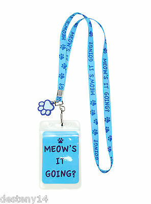 Meow's It Going?  ID Lanyard Keychain Key Chains Badge Holder NWT