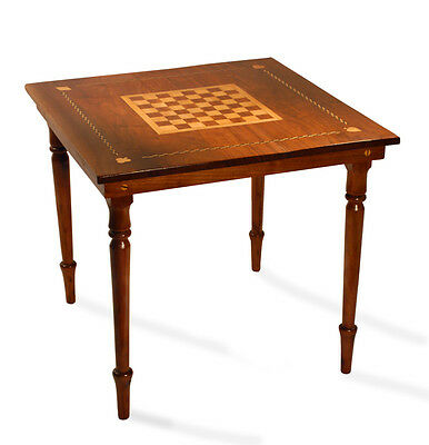 Folk Art Antique Game Table Walnut & Maple Furniture Chess Card Table
