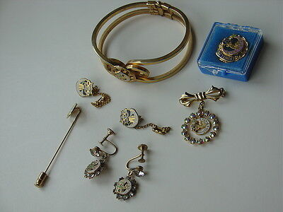 Vtg Daughters Of Rebekah Odd Fellows Lot 50 Year & Hat Pin Bracelet Earrings
