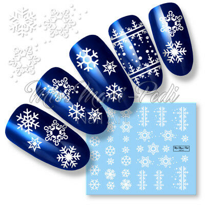 Nail Art Water Decals Transfers White Christmas Xmas Snowflakes Frost Snow K277