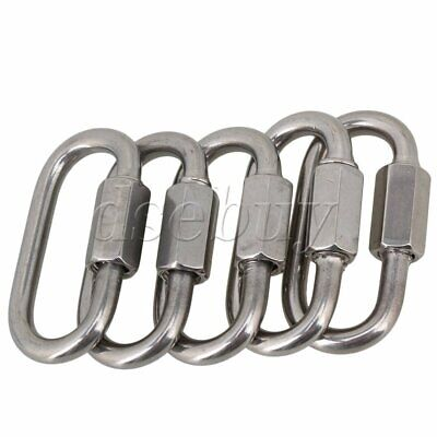 Multifunctional SS304 Quick Link Lock Ring Carabiner M4 Set of 5 Silver Tone