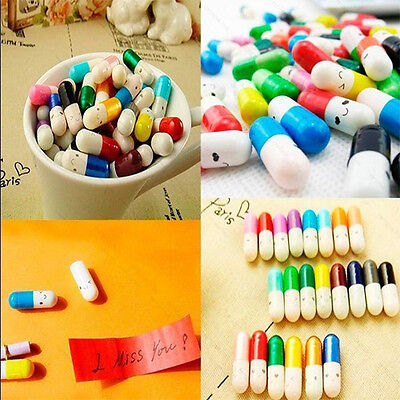 50pcs Creative Cute Pills Letter Lucky Wishing Stationery Capsule Multiple Color