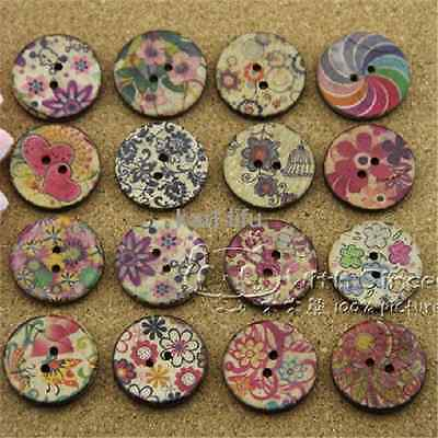 10 pcs coconut shell woode round sewing buttons 2 holes 25mm diy mixed floral