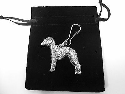 Bedlington Terrier Zip Pull in Silver, for Bags and Jackets