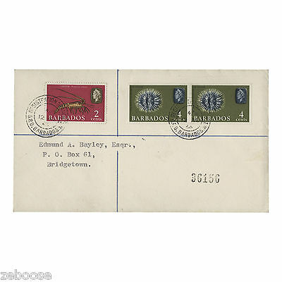 Barbados 1965 (Error) 4c Sea Urchin imperforate pair on registered cover. SG325a