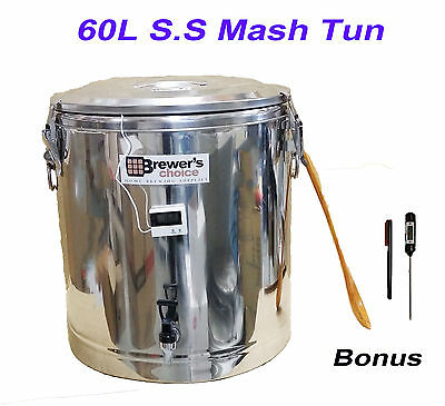 Stainless Steel 60L HomeBrew All Grain Mash Tun Cooler with False Bottom Therm.