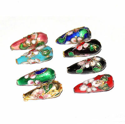 22mm cloisonne style teardrop shape bead in choice of 8 background colours