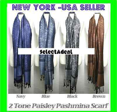2PLY Fall Winter Large 78X28 Pashmina Paisley Silk Scarf Shawl Wool Blend Wrap