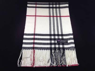 100% Cashmere Scarf Black White Red Scotland Warm Wool Check Plaid Wrap C50 MEN