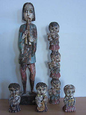 """Vintage Verboan Painted Carved Wood Angels and Flute Player 5pc Lot 24"""" Estate"""