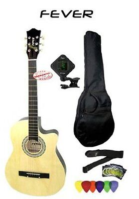 Fever 3/4 Size Acoustic Guitar Package Natural with Bag, Tuner, Picks, Strap