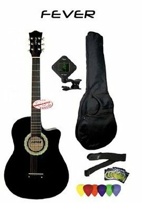 3/4 Size Cutaway Guitar FV-030C-BK-PACK With Bag, Strap, Tuner, Strings & Picks