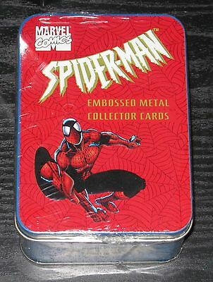 1996 Spider-Man Embossed Metal Set of 4 Cards w/ Tin FACTORY SEALED, NEW Marvel