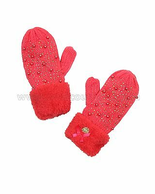 Le Chic Girl's Mittens Coral, Sizes 4-14