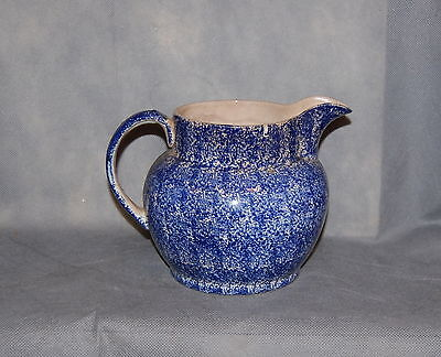 Antique English Blue Spongeware Pottery Pitcher