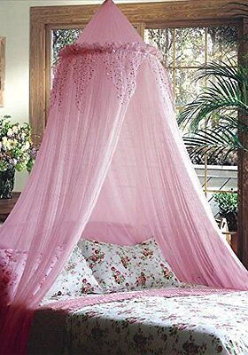Mosquito Nets 4 U Bed Canopy with Silver Sequined Valance, Pink