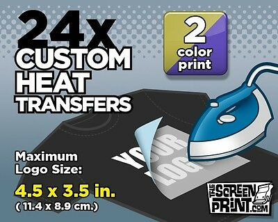 24 Custom Plastisol Heat Transfers Iron-On (2 color) MAX Logo Size 4.5 x 3.5 in.