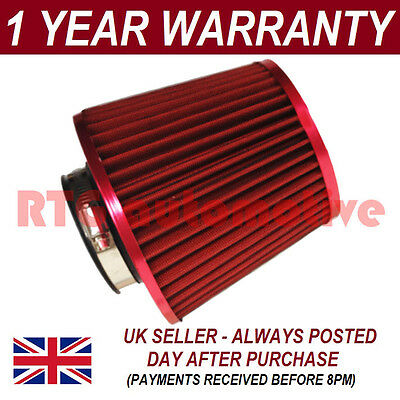 Red Universal Performance Cone Sport Upgrade Air Filter With Adaptors
