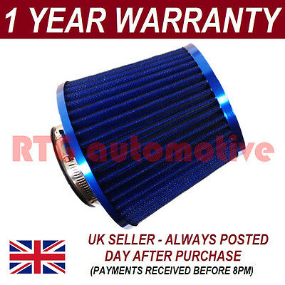 Blue Universal Performance Cone Sport Upgrade Air Filter With Adaptors