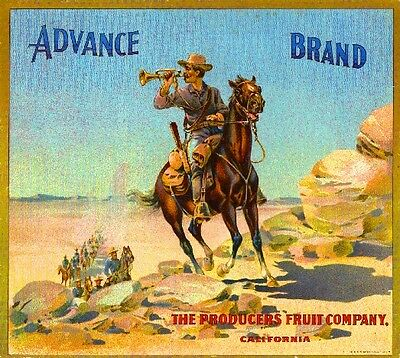 Riverside Advance Cowboy Orange Citrus Fruit Crate Label Art Print