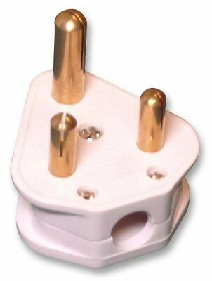 15A / 15 Amp White Round 3 three Pin Electrical Plug Top Unfused BS536- FREE P&P