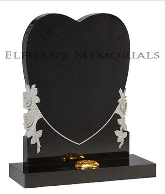 Heart shaped with Carved Roses Black Granite Memorial Headstone