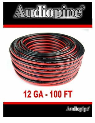 12 Gauge 100 Feet Red Black Stranded 2 Conductor Speaker Wire Cable Copper Mix