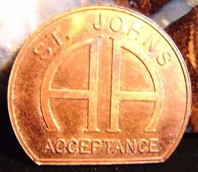 Alcoholics Anonymous AA Sober Recovery Bronze Medallion St.Johns Token Coin  DY