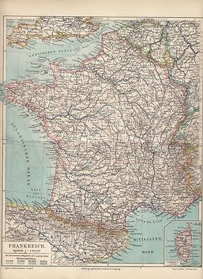 1899 Landkarte Antique Map * Frankreich / France * Original Druck / Print