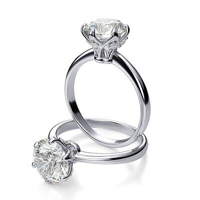 Authentic 1.10 Ct Round Cut Diamond Solitaire Engagement Ring H, SI2 EGL 14k WG