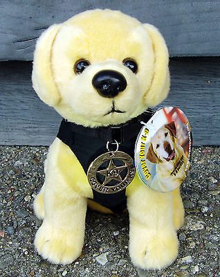 Plush Labrador Retriever Police or SAR Dog w Metal K9 Badge - K-9 Fundraiser