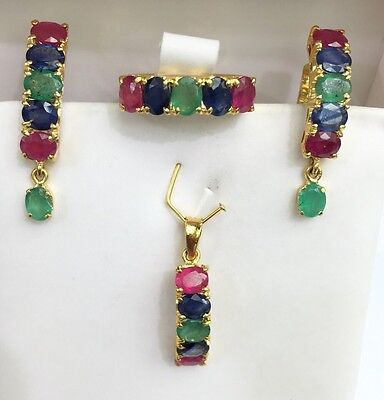 14k Solid Gold One Row DangleSet Earrings Ring Pendant,Mix Ruby Emerald Sapphire