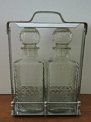 Vintage Set of 2  Pressed Glass Decanters in Chrome Display Carrier