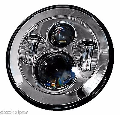 "Harley Daymaker Style 7"" Motorcycle Hid Led Light Bulb Headlight - Chrome"