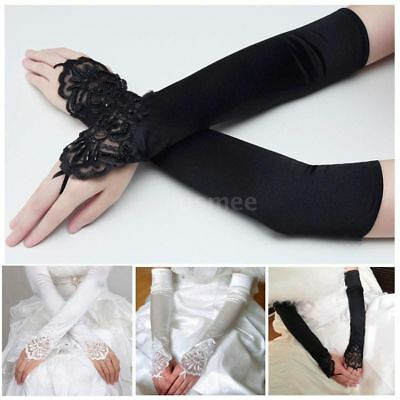 Hot Women Party Dress Bridal Wedding Fingerless Lace Stretch Satin long Gloves
